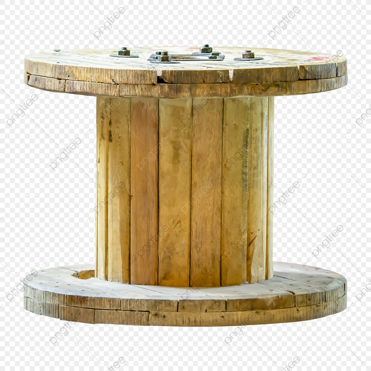Cable Spool Or Old Wooden Reel Of Steel Cable Wooden Roll Rollers
