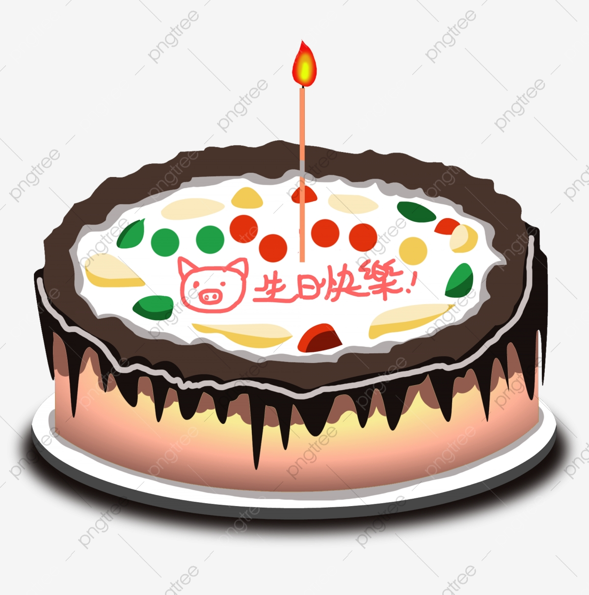 Groovy Cake Cake With Candles Cute Pig Happy Birthday Cake Chocolate Cake Funny Birthday Cards Online Aboleapandamsfinfo