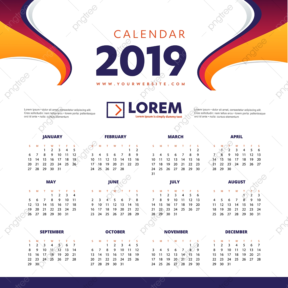 Calendrier 2019 Vectoriel.Calendrier 2019 Colore Bureau Bureau Modele An Illustration