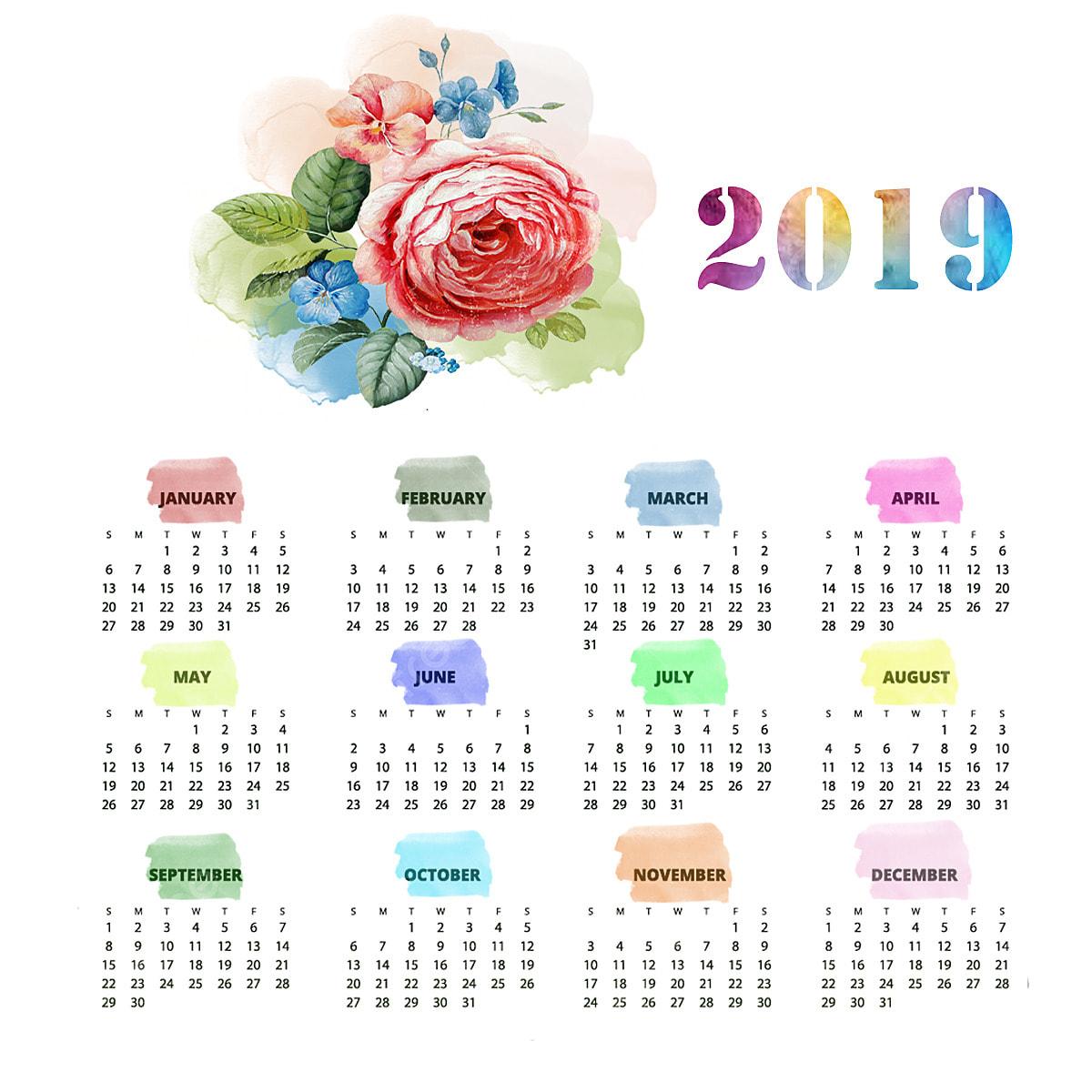Calendario Rosa Png.Calendar 2019 2019 Happy New Year Png Transparent Clipart