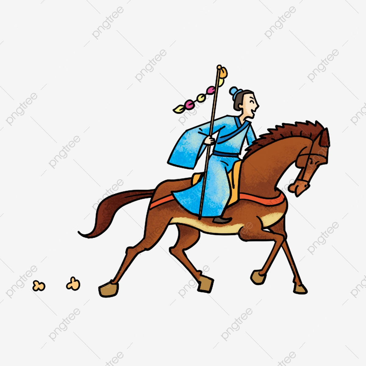 Cartoon Ancient Man Ban Chao Ancient Man Riding A Horse Class Exceeds The Western Region Equestrian Han Dynasty Hanfu Png Transparent Clipart Image And Psd File For Free Download