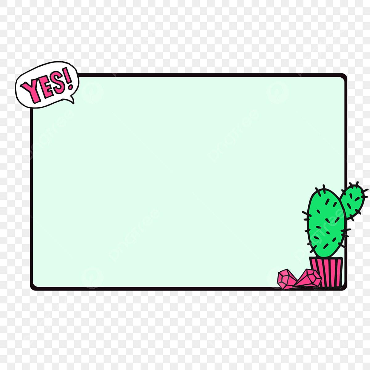 Kartun Sempadan Sempadan Kreatif Kartun Kaktus Segi Empat