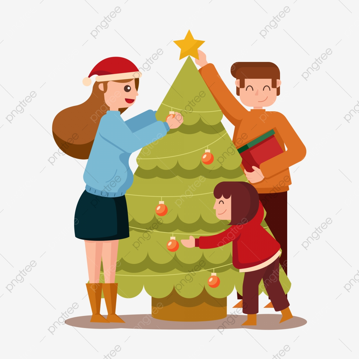 Watak Kartun Minimalis Watak Hiasan Pohon Natal Pohon Natal