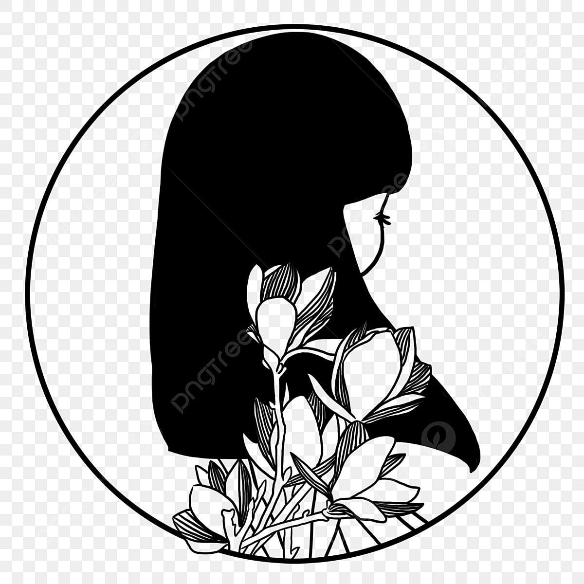 Dessin Animé Fleur Trait De Ligne Noir Et Blanc Cadre Rond