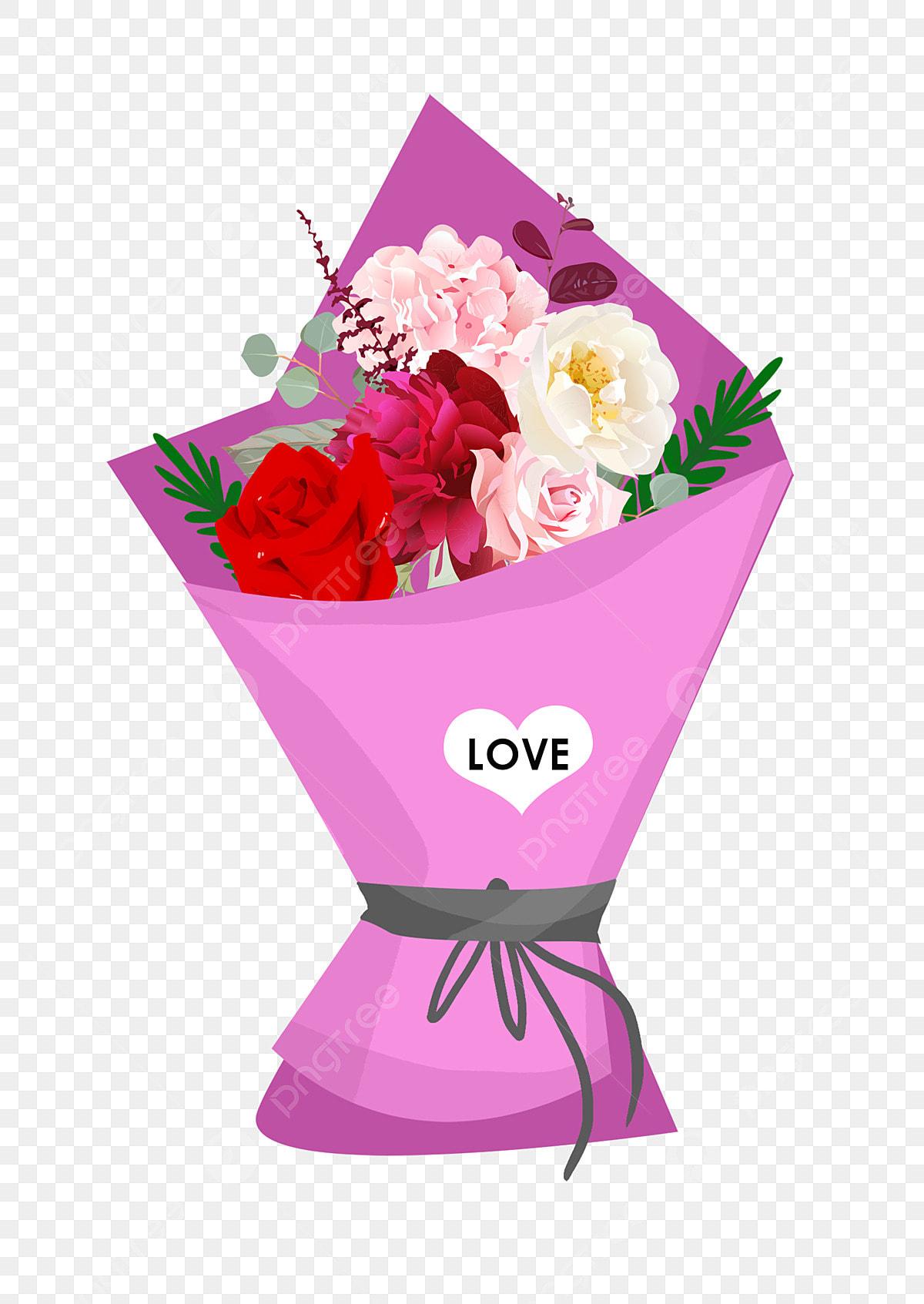 Dessin Animé Bouquet De Fleurs Romantique Valentin