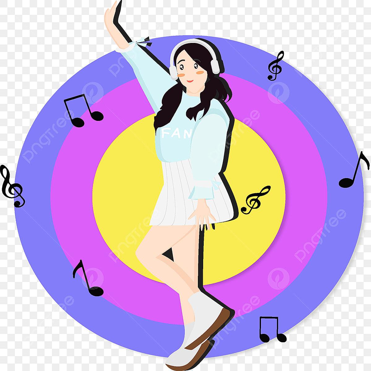 Cartoon Girls Listen To Music Game Illustrations, Girls