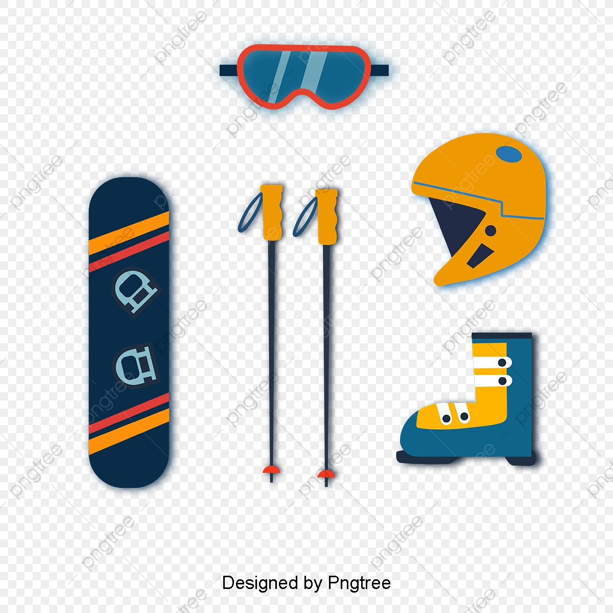 Cartoon Hand Drawn Ski Set, Glasses, Ski Sticks, Helmets PNG