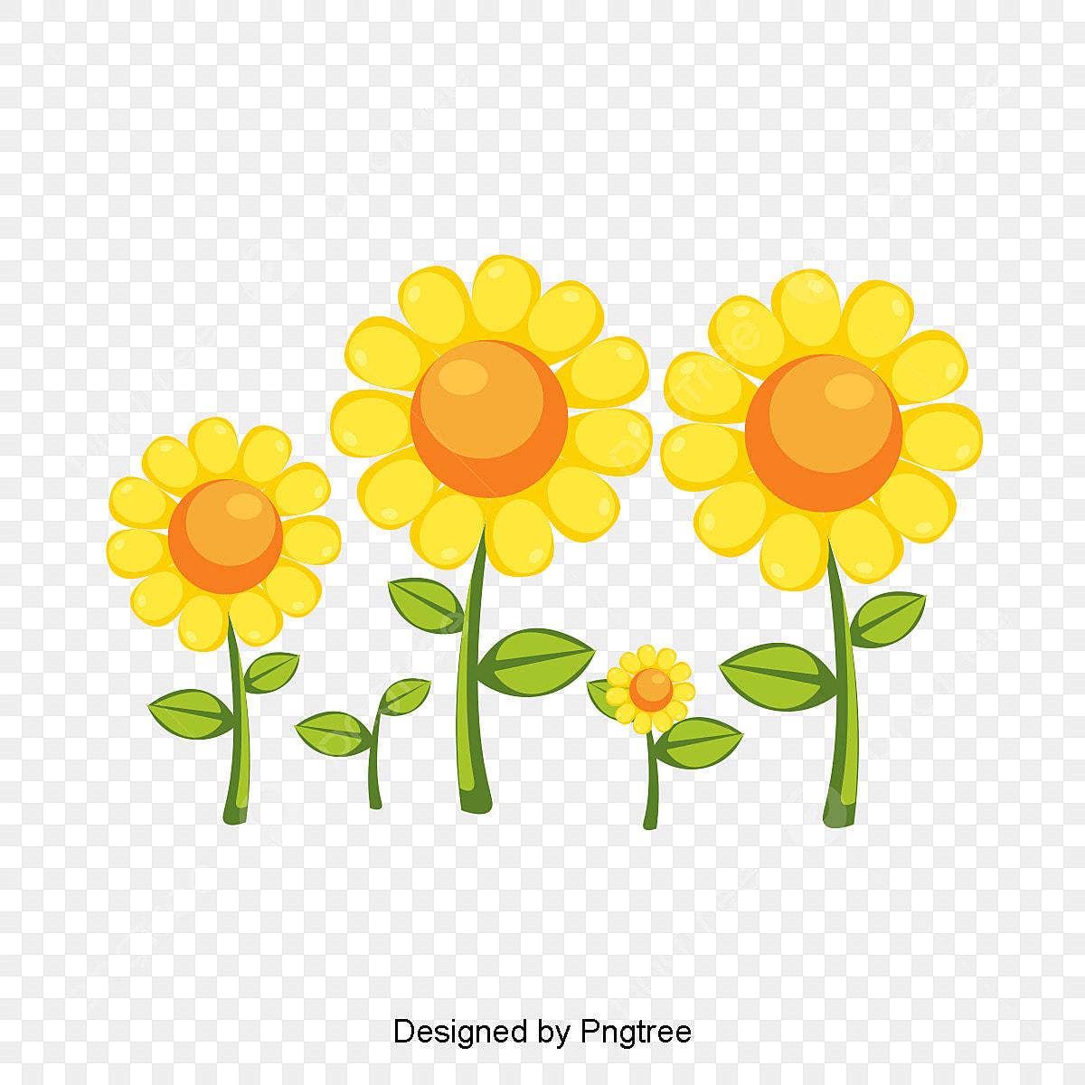 Pintados A Mao Flor De Girassol Desenho Elemento Cartoon Simples