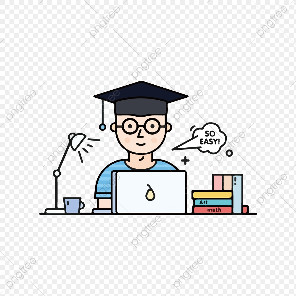 Cartoon Illustration Student Graduate, Write Thesis, Graduation Season,  Overnight PNG And Vector With Transparent Background For Free Download