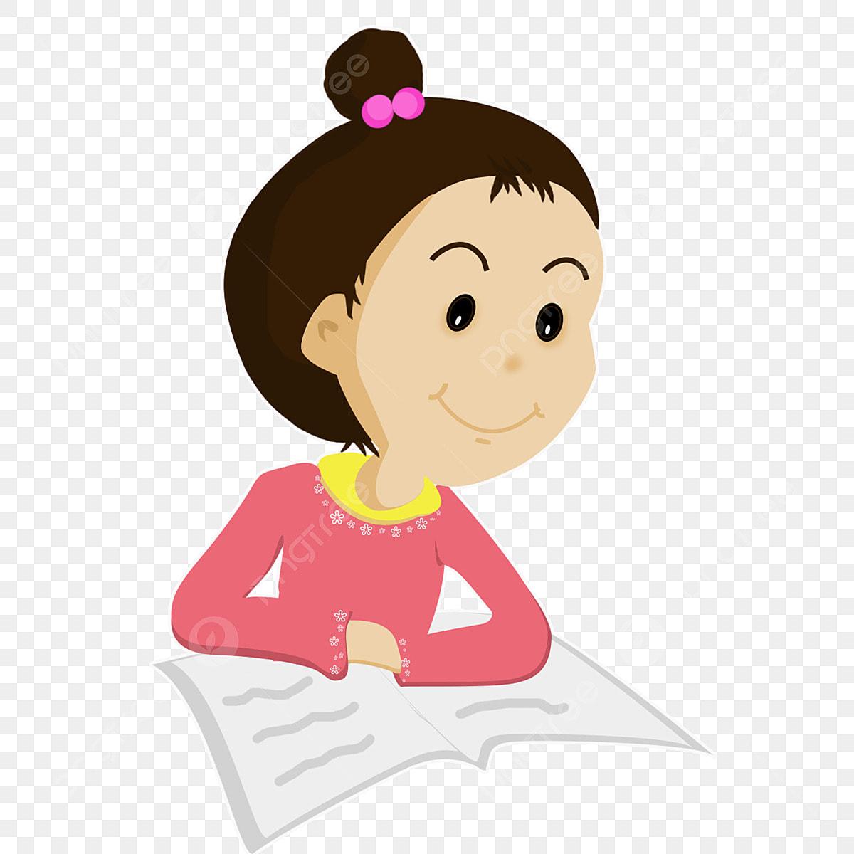 Hình ảnh Phim Hoạt Hình Cô Bé Cô Bé đọc Sách Đọc Sách Ngày Lễ Học Chăm Chỉ,  Làm Bài Tập, Hình, Sinh Viên miễn phí tải tập tin PNG PSDComment và