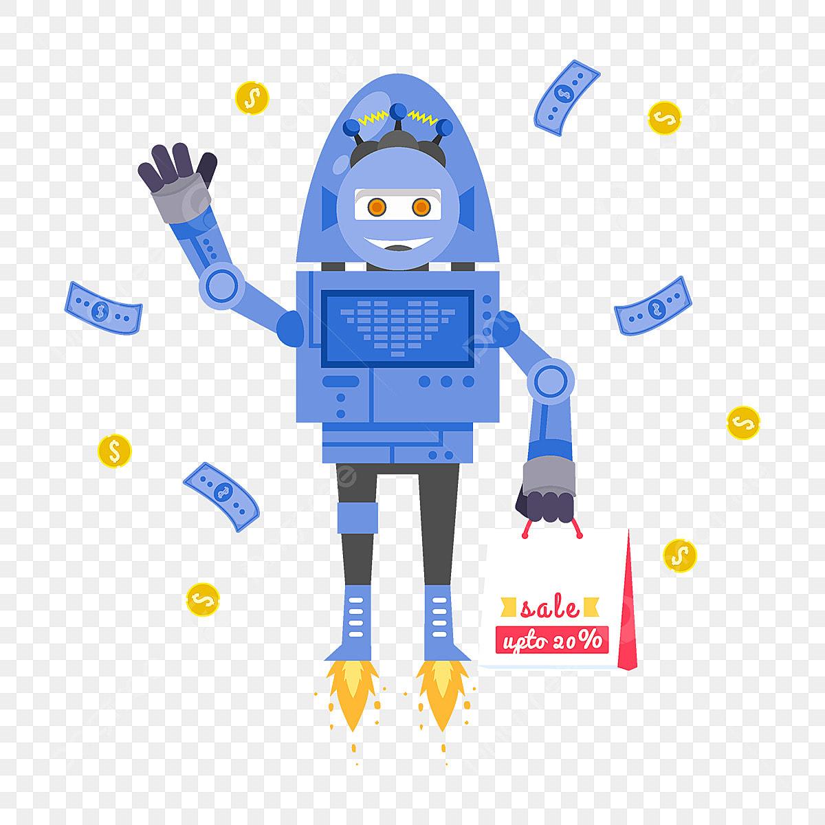 Cartoon Robot Shopping Illustration, Cartoon, Cute, Hand