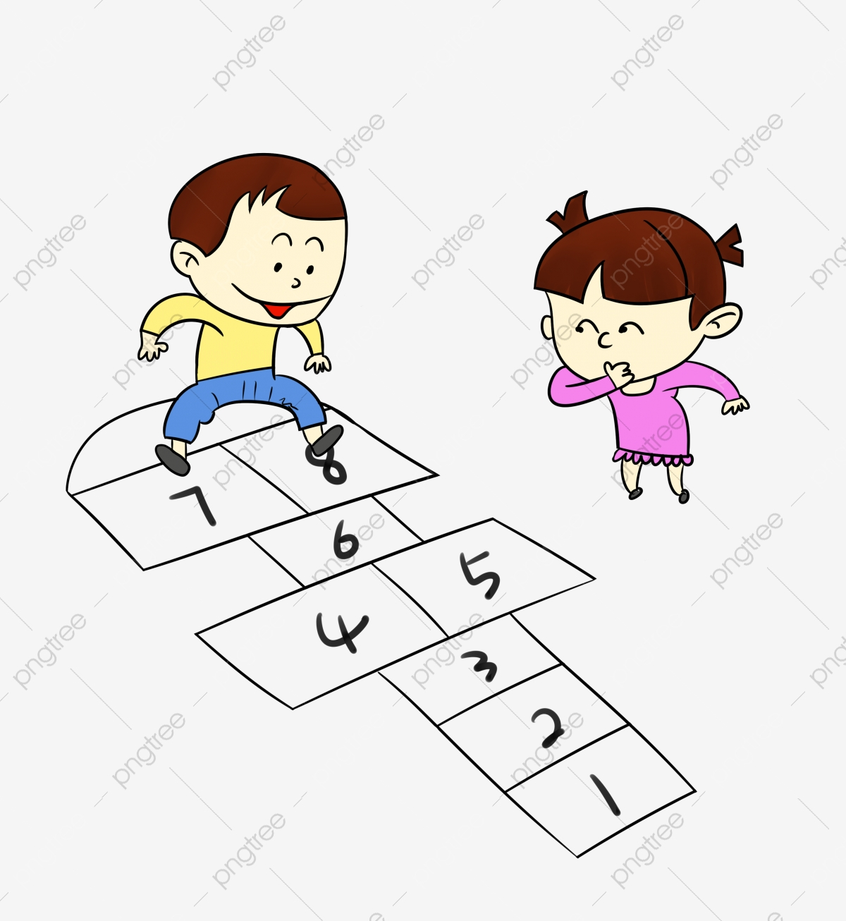 Cartoon Short Green Child Hopscotch Childhood Memories Png Transparent Clipart Image And Psd File For Free Download