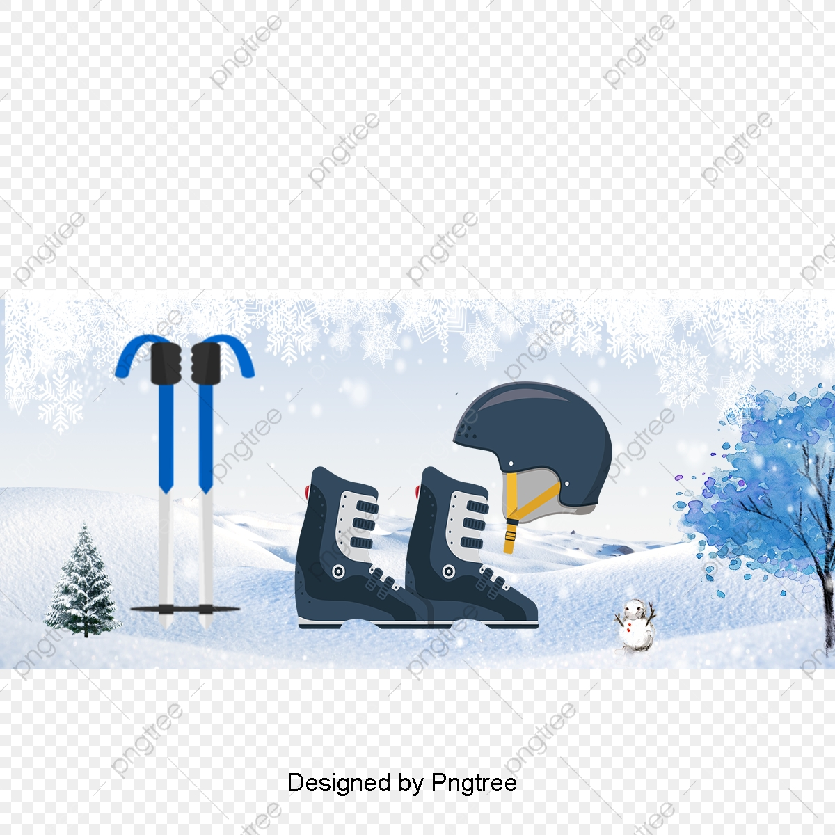 Cartoon Winter Ski Equipment Elements, Sports, Casual