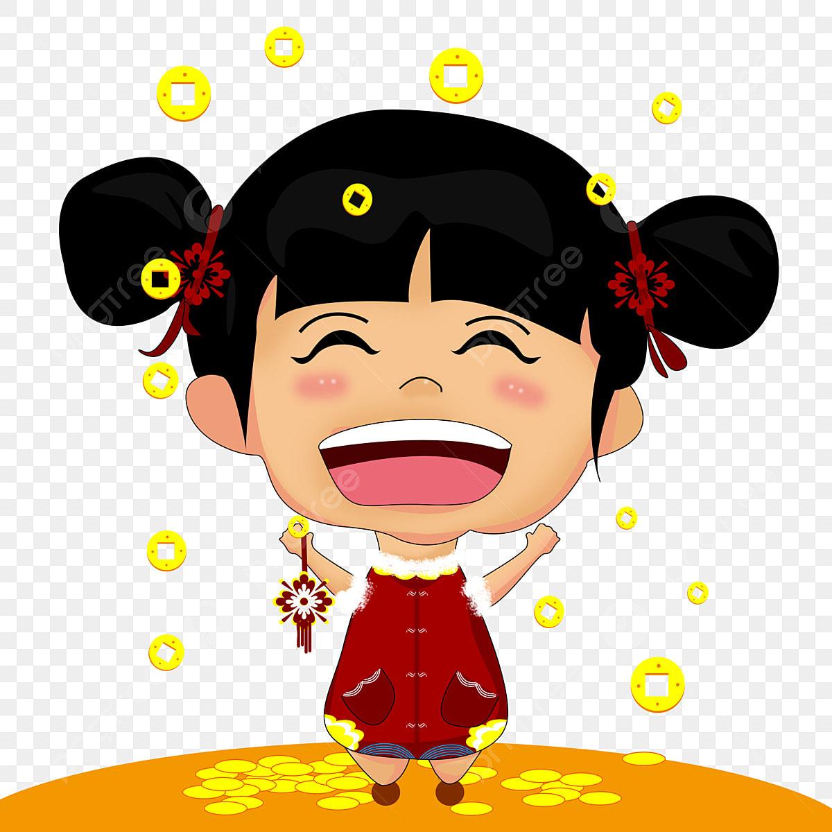 A Cina Kartun Ketawa Gadis Kecil Per A Png Dan Psd