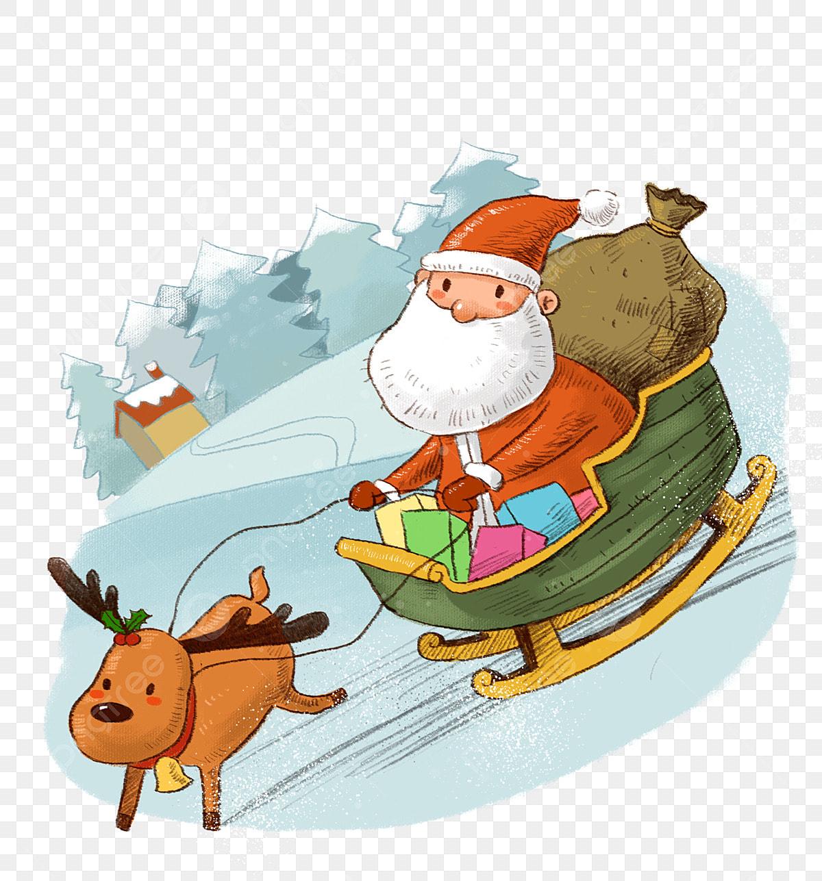 Weihnachtsgeschenke Clipart.Santa Claus Und Mule Deer Png Material Für Weihnachtsgeschenke