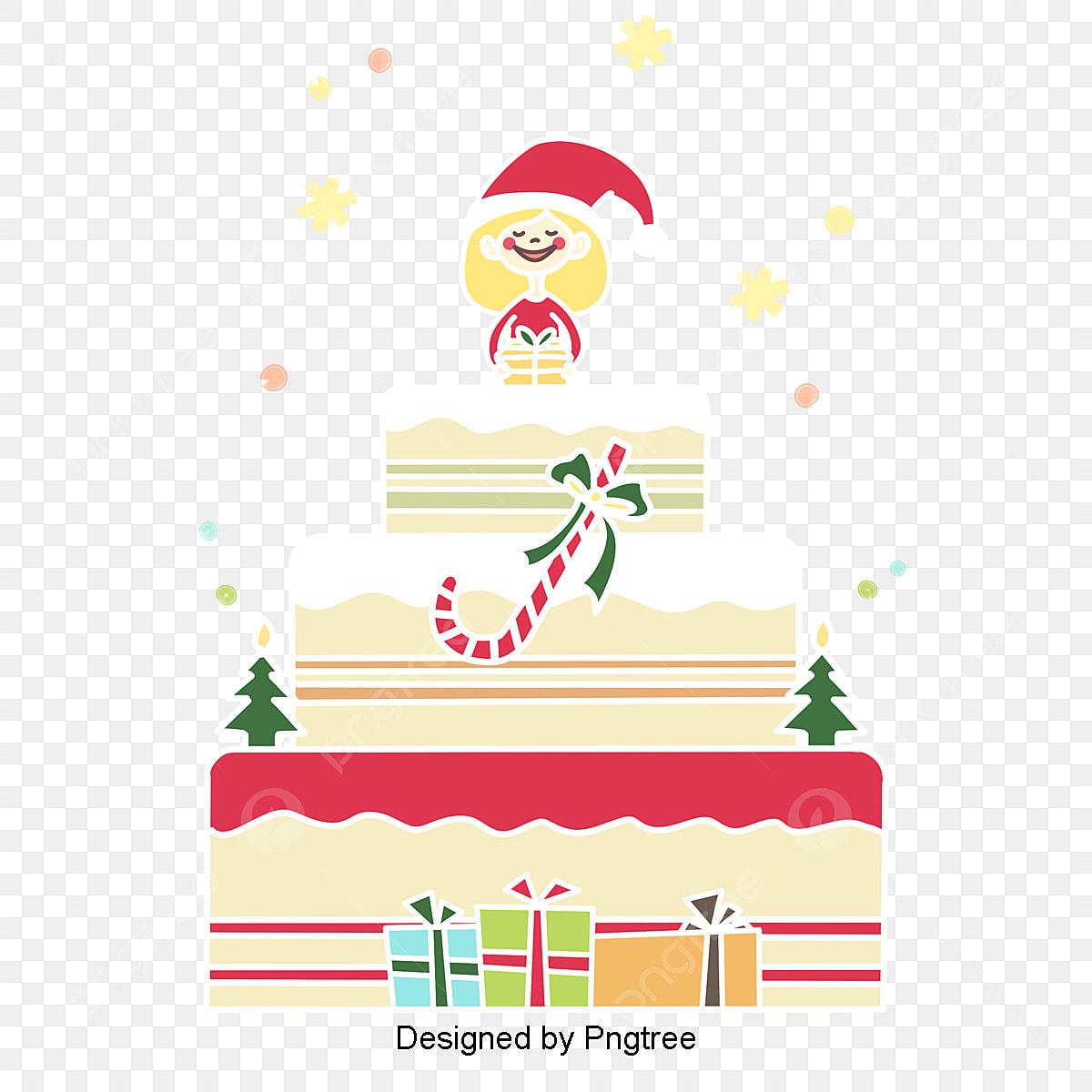 クリスマスプレゼントテーマガールケーキ韓国風手描きイラスト 図 図案