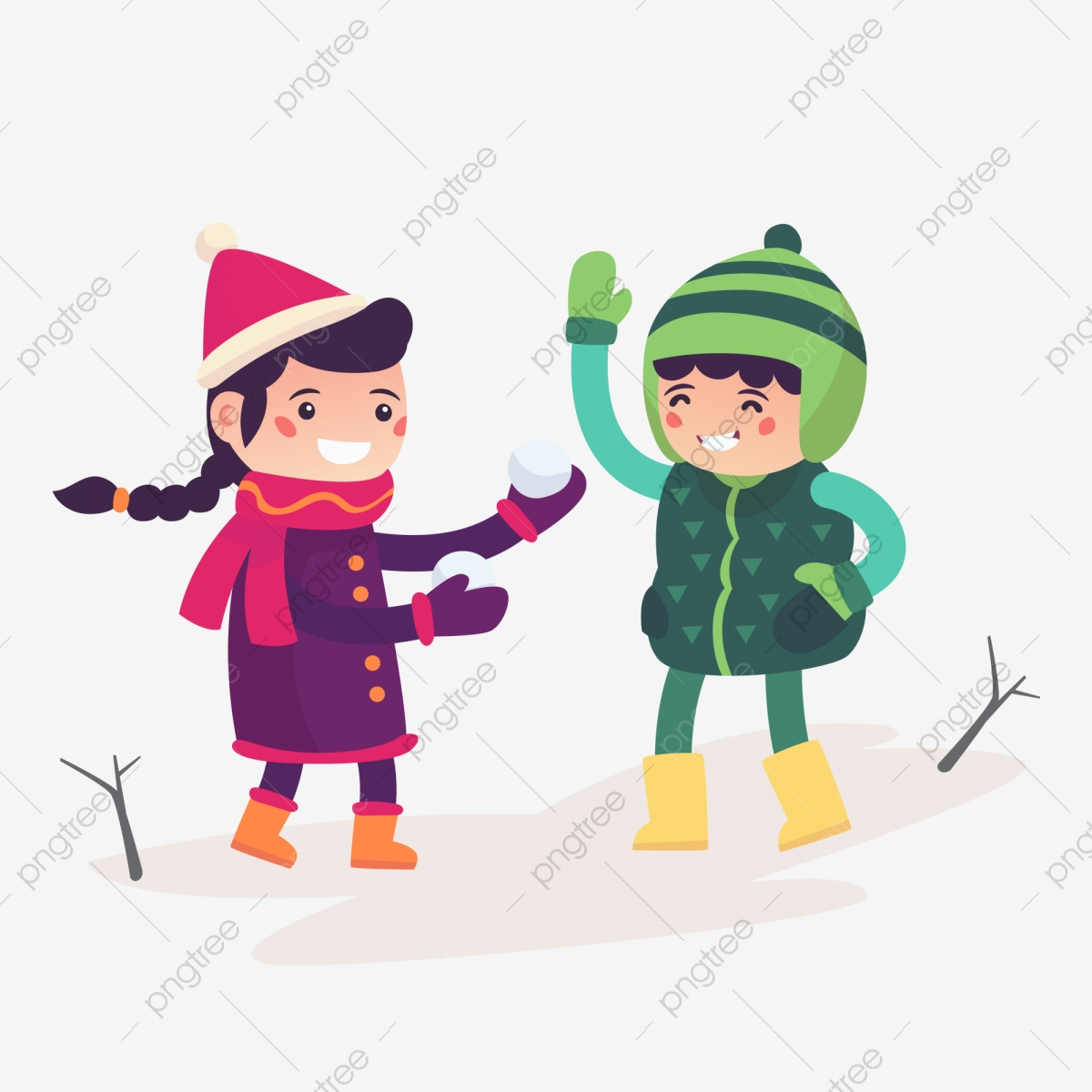 Christmas kids playing winter games Clipart   k41867952   Fotosearch