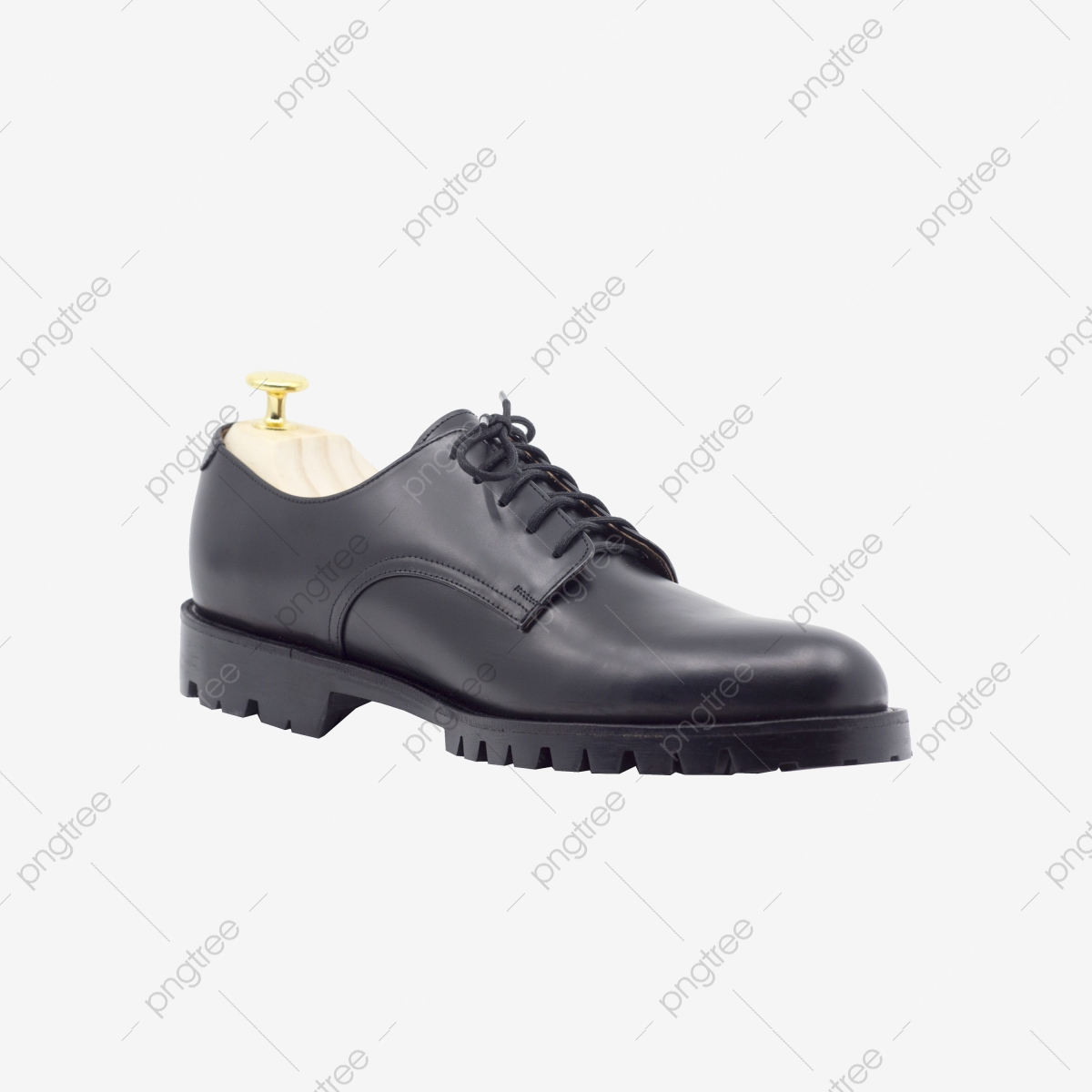 Classic Male Black Leather Shoes Isolated On White