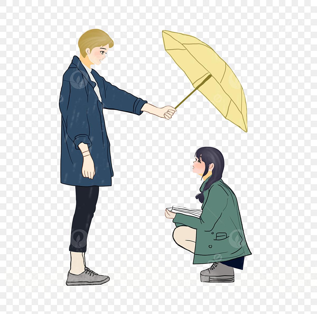 Couple Umbrella Rain Rain Love Beautiful Care Png Transparent