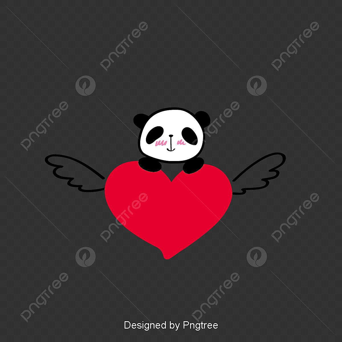 Joli Dessin Panda Et Voler Un Cœur Rouge élément Simple