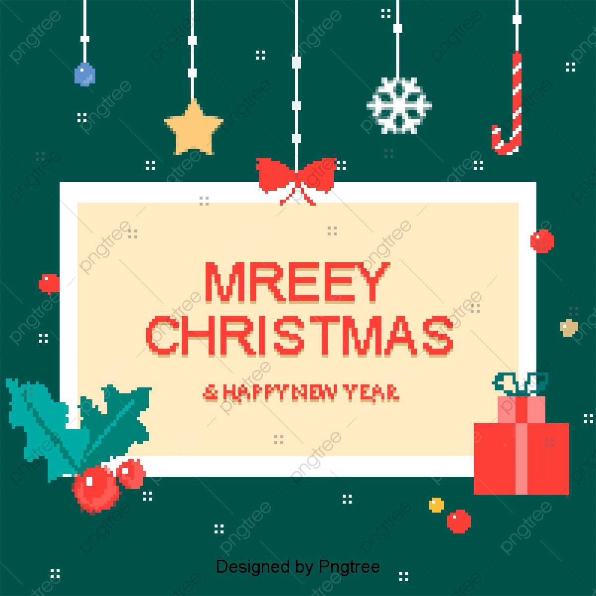 Cute Christmas Element Pixel Card Background Lovely