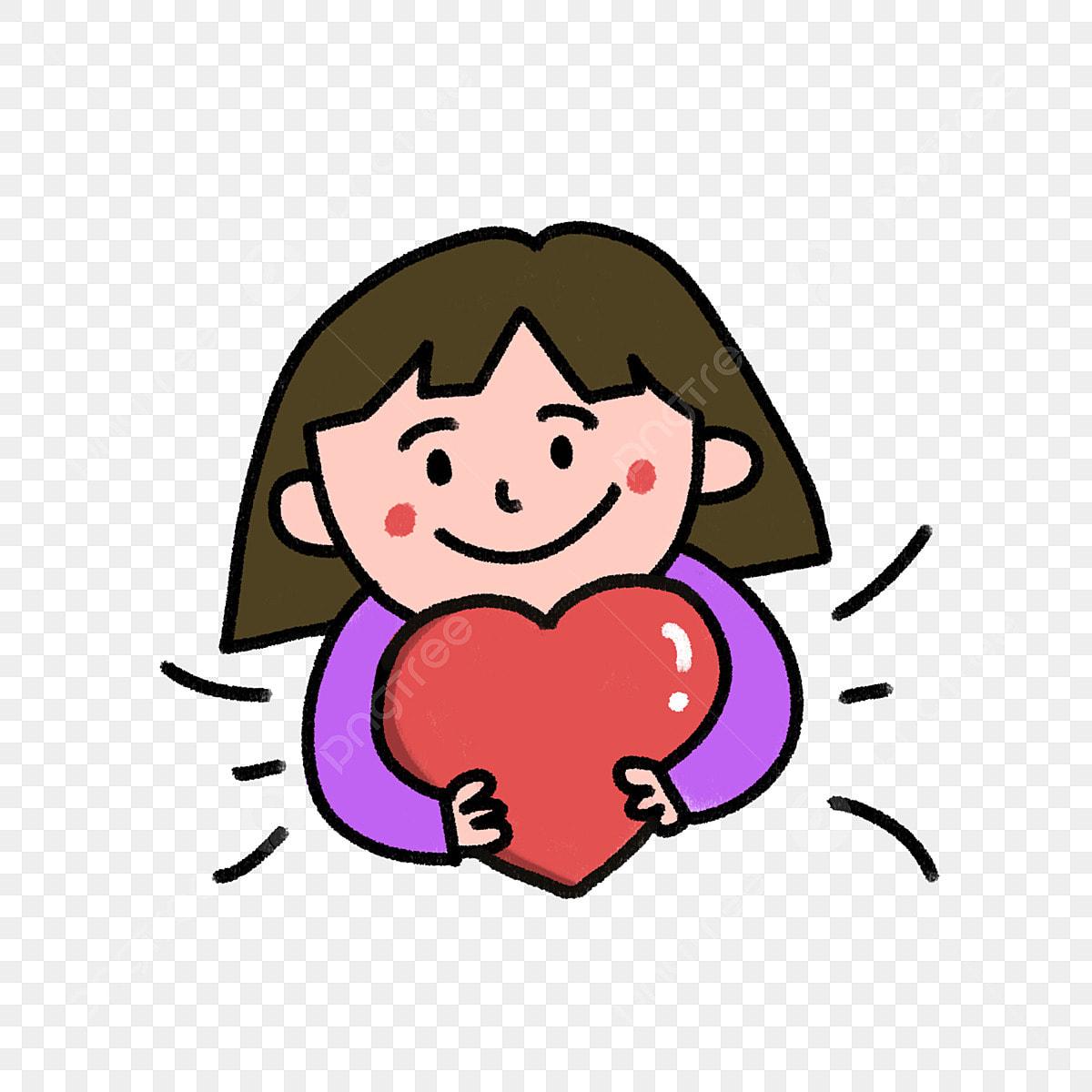 Cute Girl Holding Love Warm Heart Girl Children And Love