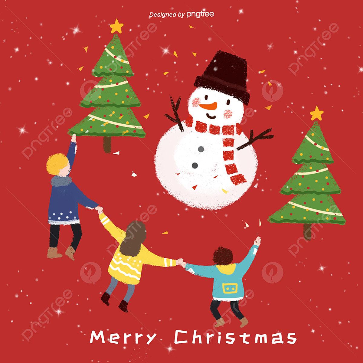 Christmas Celebration Cartoon Images.Cute Snowman Christmas Celebration With Children Cartoon