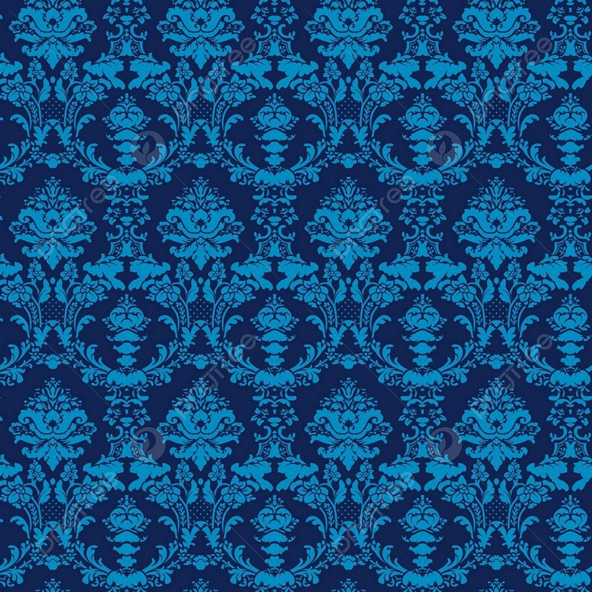 Elegant Blue Seamless Damask Background, Background ...