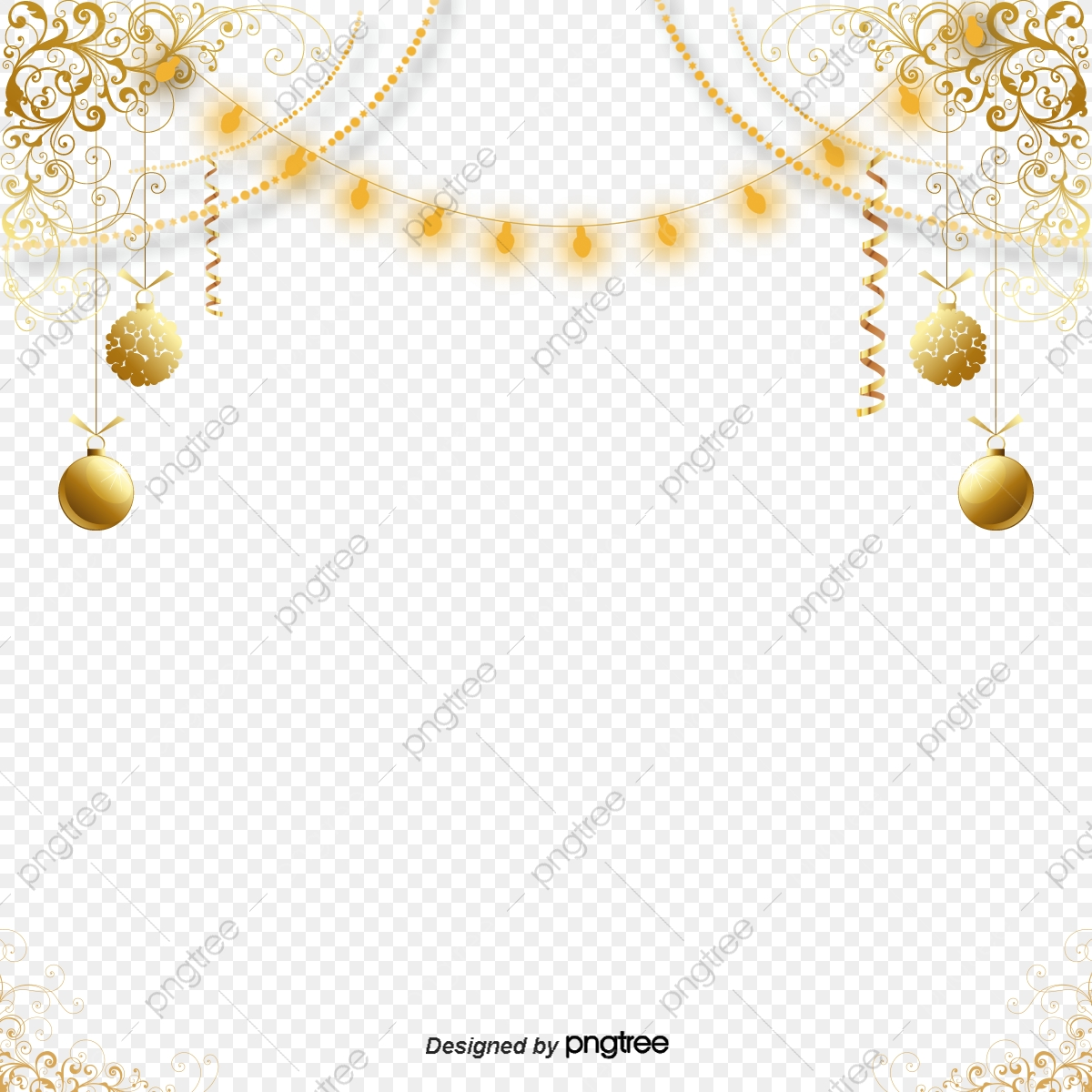 Fashion Atmospheric Golden Decorative Patterns Elements Originality Coloured Ribbon Fashion Png Transparent Clipart Image And Psd File For Free Download
