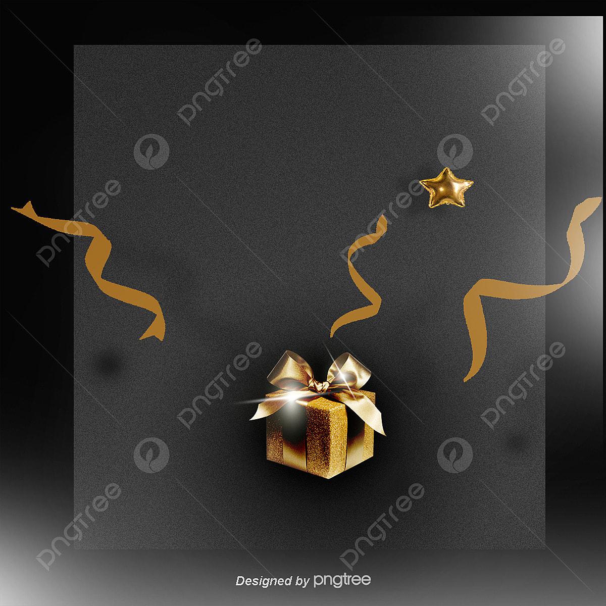 Presente De Natal De Fundo Dourado Clip Art Presentes De