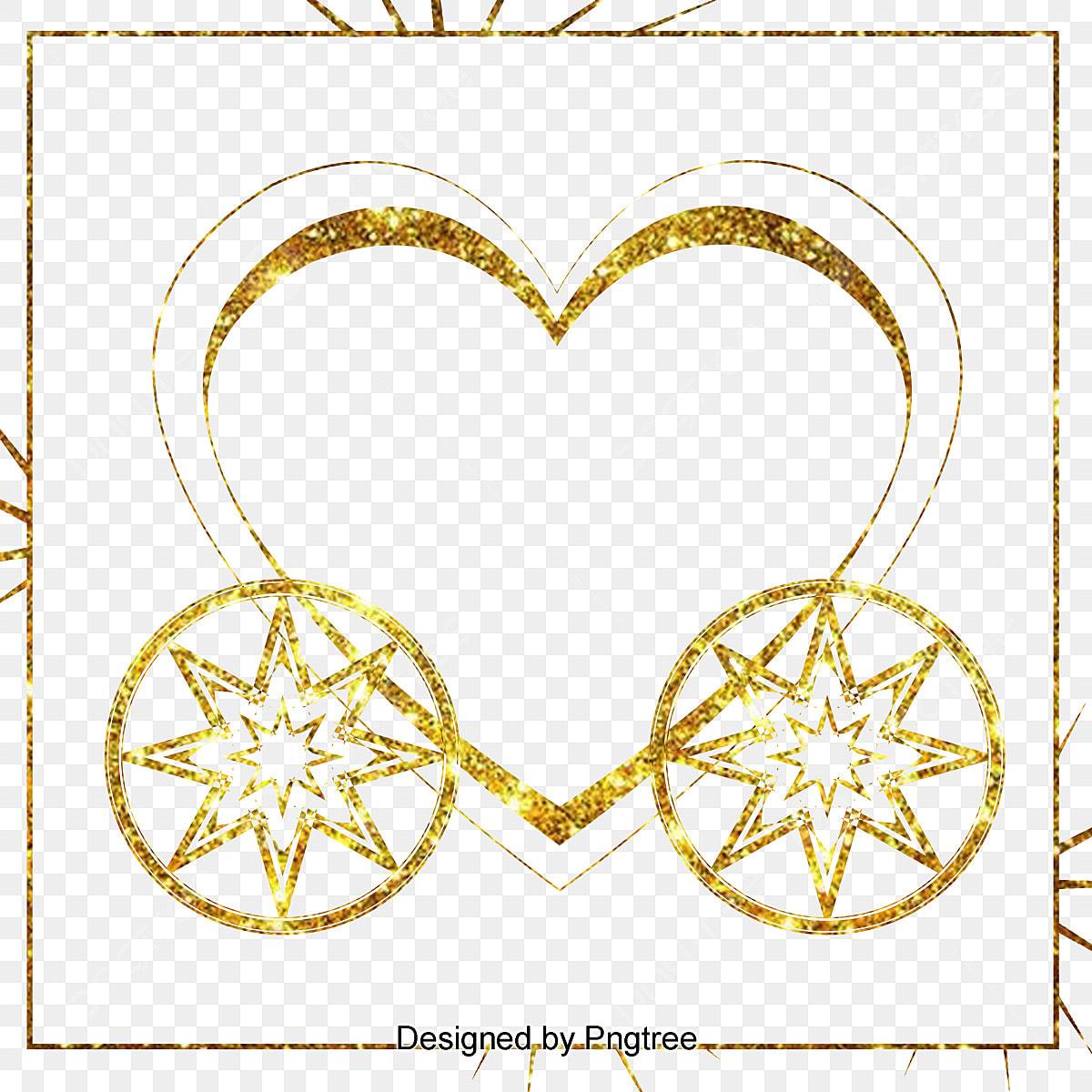 Die Goldene Hochzeit Luxus Wagen Grenze Herzförmigen Märchen