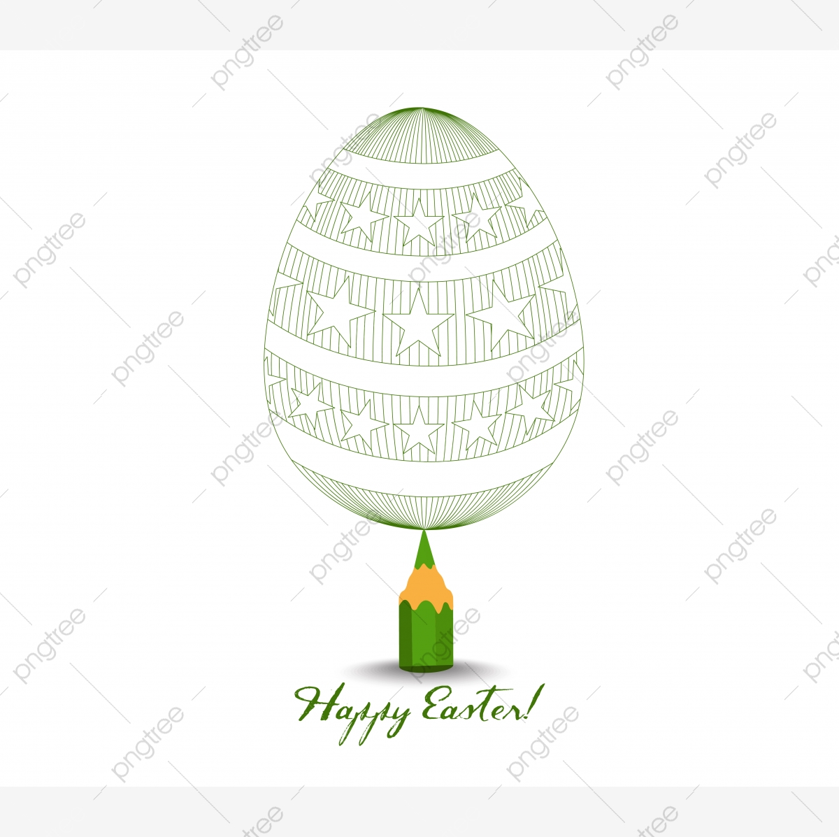 Green Pencil With Reflection Drawing Easter Egg On White ...