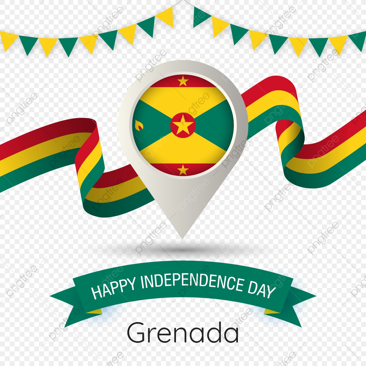 Grenada Independence Day With Stylized Country Flag Pin Illustration Grenada Happy Independence Day Flag Png And Vector With Transparent Background For Free Download