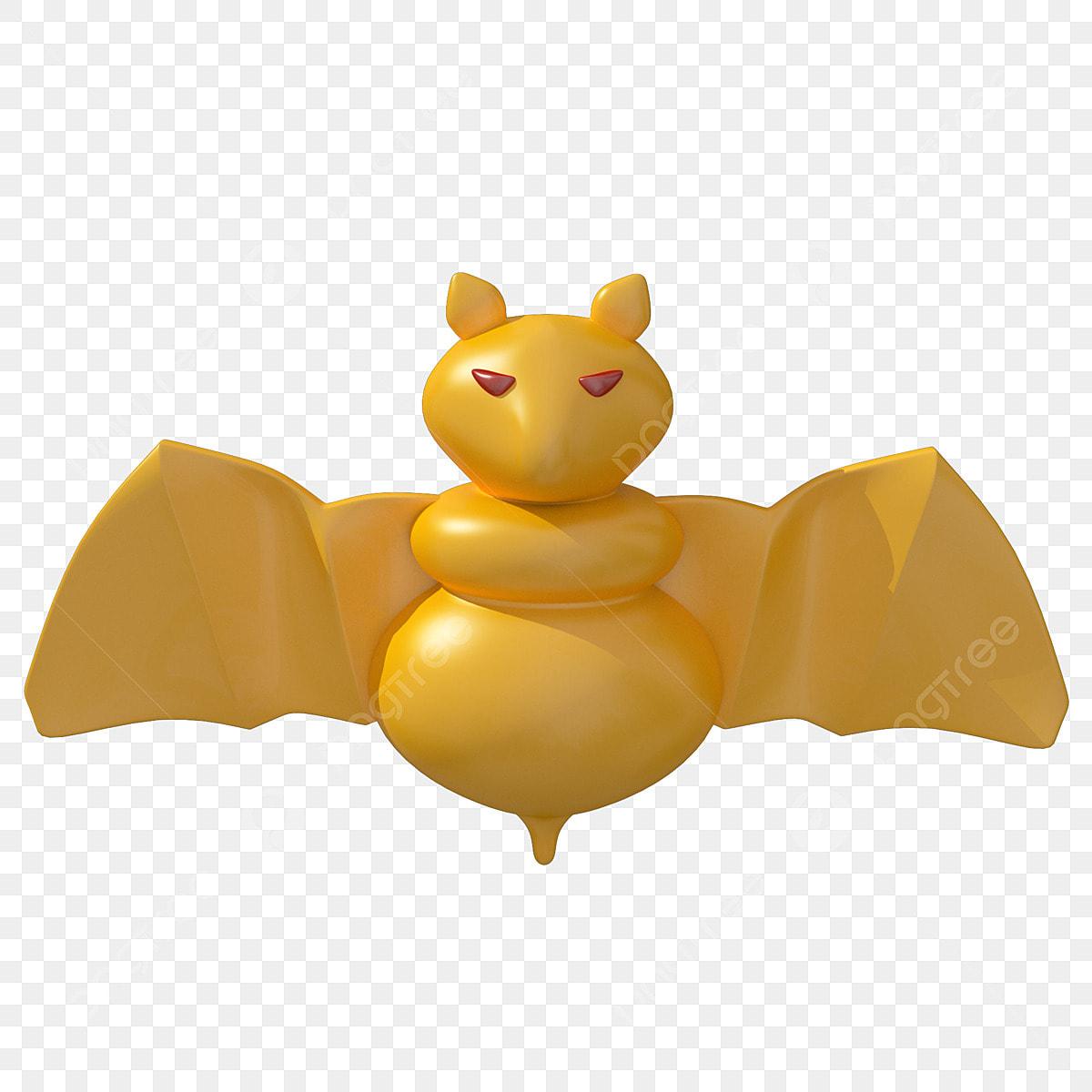 Halloween C4d Karikatur Goldene Fledermaus Kleiner
