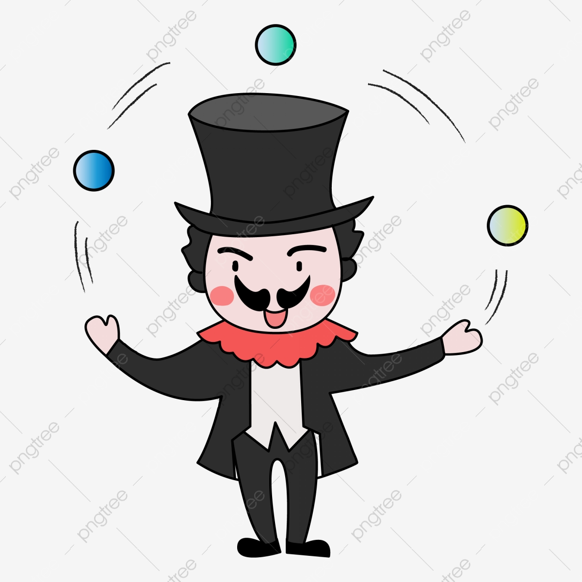 Halloween Cartoon Hand Drawn Clown Acrobat Playing Clown Q