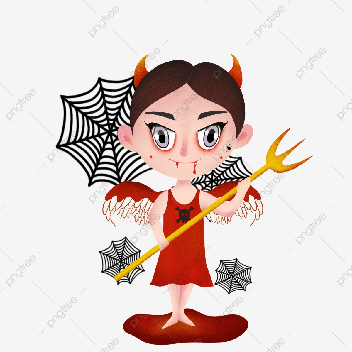 Halloween Witch Demon Angel, Devil Horn, Wing, Blood PNG