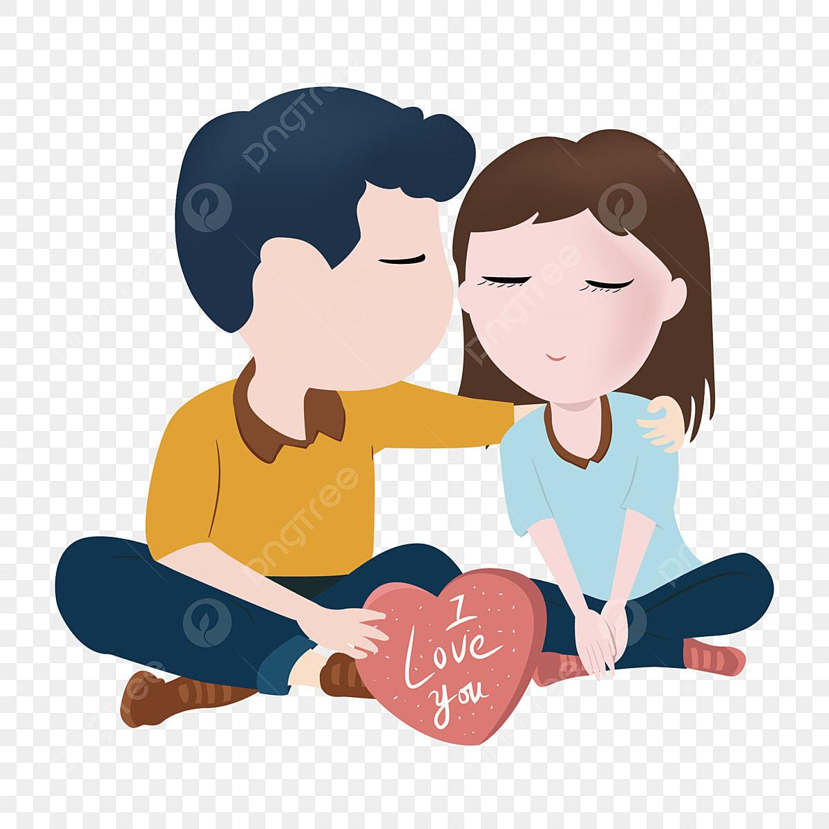 Gezeichnete Hand Der Karikatur Hand Die Susse Paare Der Liebe Halt