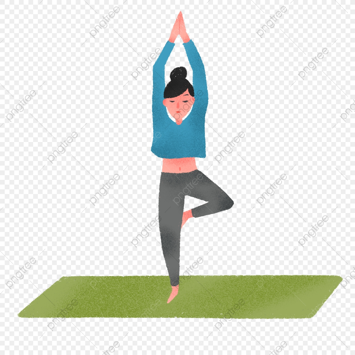 Hand Drawn Cute Yoga Poses Peaceful Sport Health Png Transparent Clipart Image And Psd File For Free Download