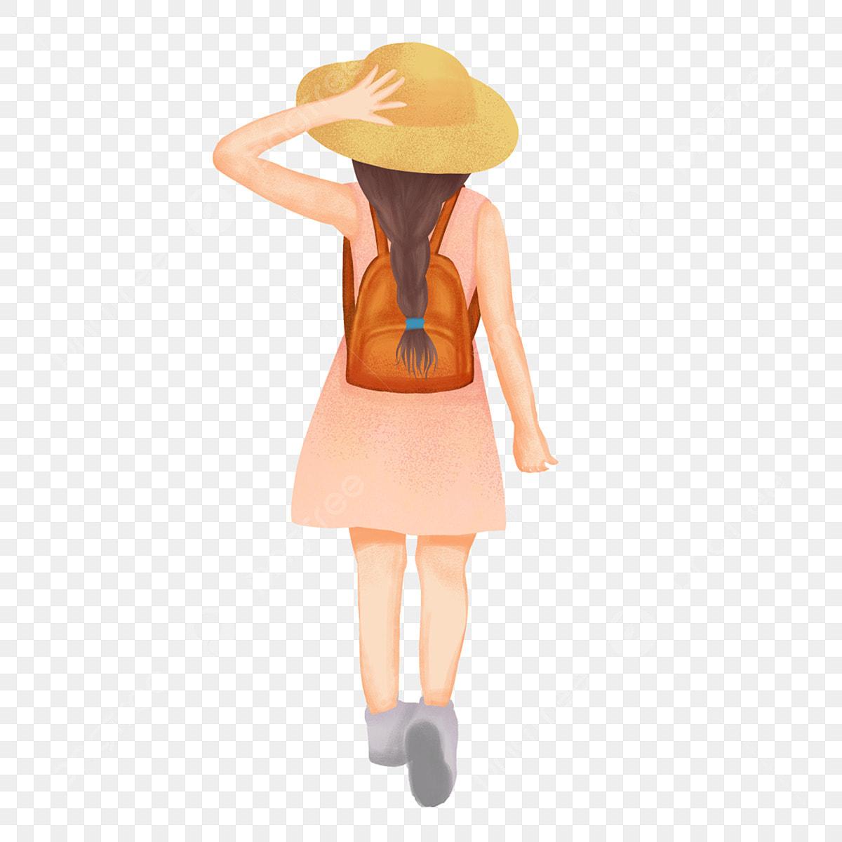 مرسومة باليد رسوم متحركة فتاة صغيرة جولة الربيع ظهره قبعة