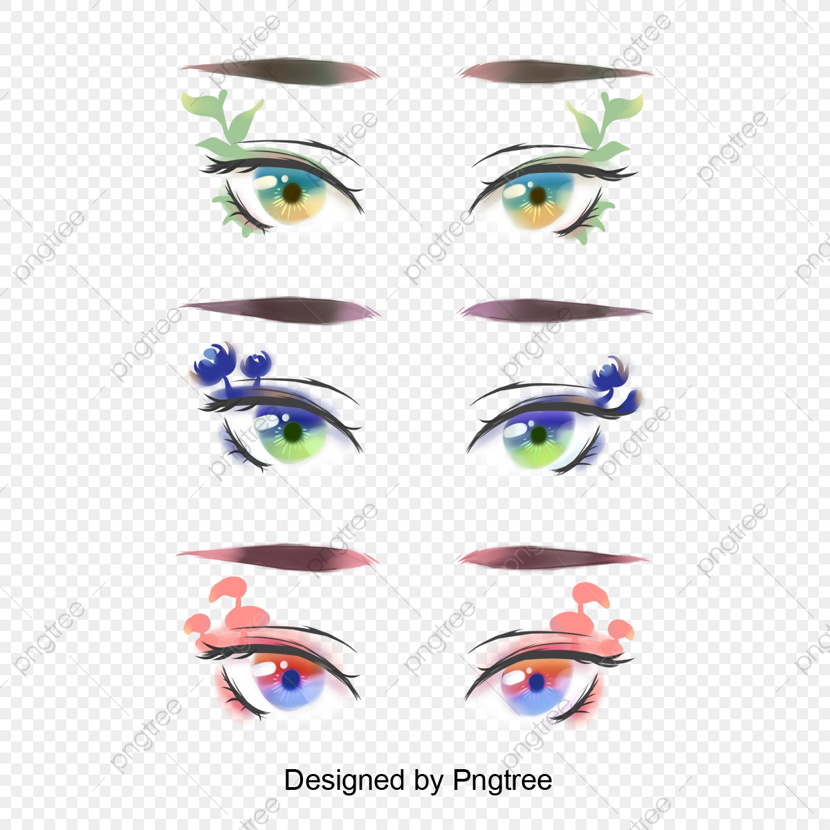 Hand Painted Eye Makeup Design Pattern Eyebrow Decoration