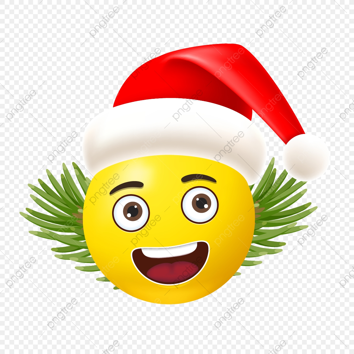Christmas Emoji.Happy Christmas Emoji With Tree And Hat Vector Christmas