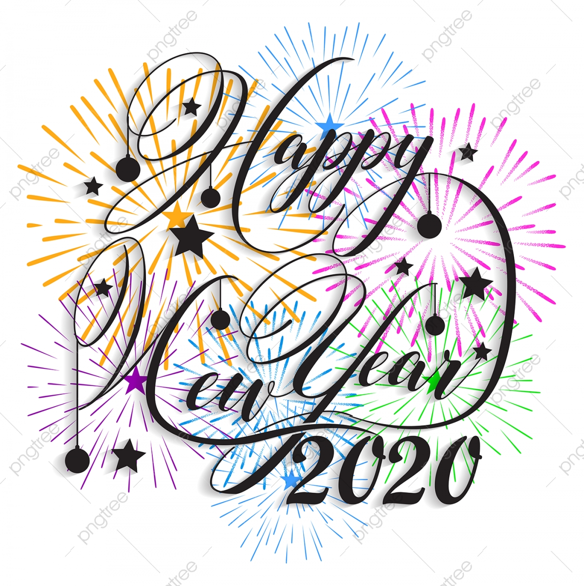 Fresh Happy New Year 2020 Clip Art - ZAMZAME