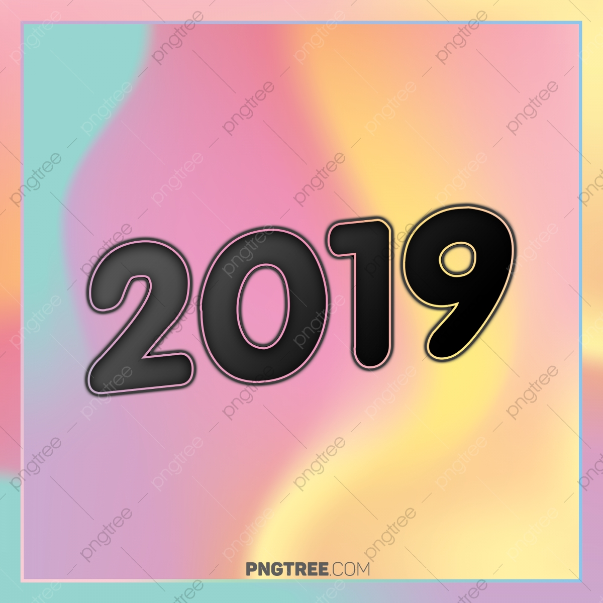 Hologram color 2019 happy new year text newyear happy newyear 2019 png transparent clipart - New years colors 2019 ...