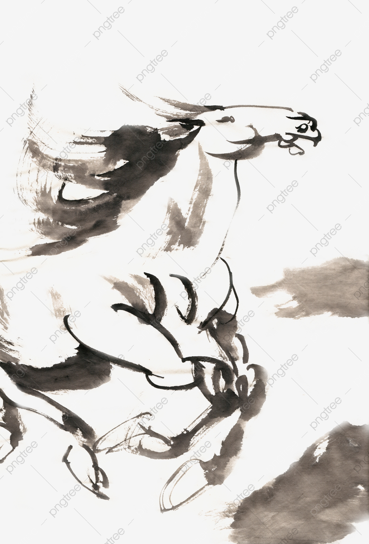 Ink Traditional Chinese Painting Hand Painted Animal Horse Flying Mercedes Png Transparent Clipart Image And Psd File For Free Download