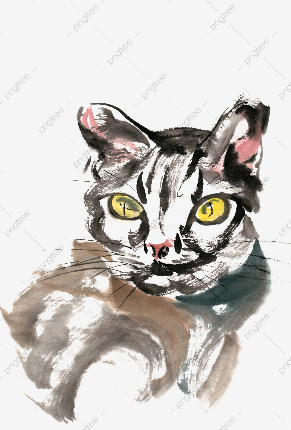Ink Traditional Chinese Painting Hand Painted Kitten, Animal