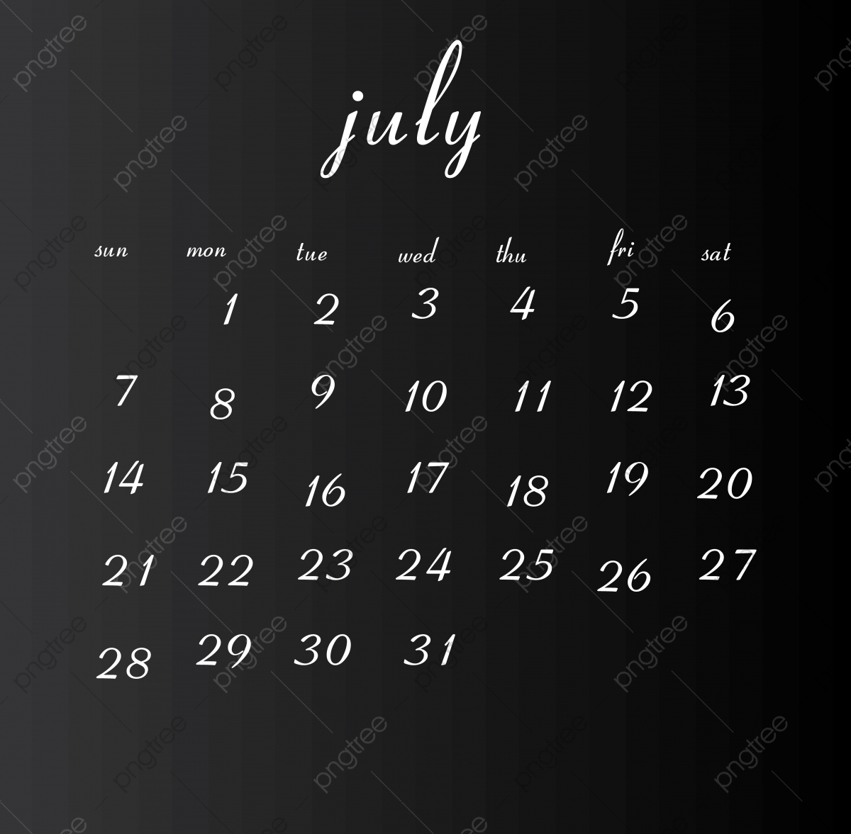 Calendario Julio 2019 Vector.July Month 2019 Calendar Clean White Png And Vector With