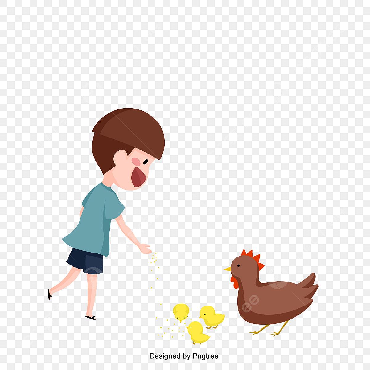 Anak Kecil Dengan Wanita Dan Anak Anak Ayam Jpa Vektor