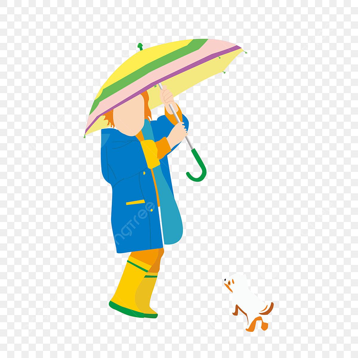 Petite Fille Parapluie Animal Chiot De Dessin Animé Chiot