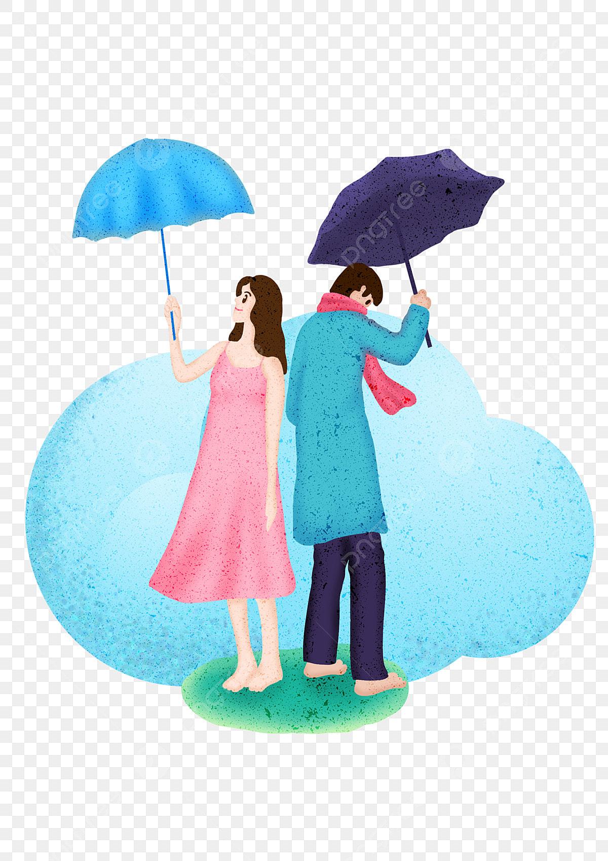 Love Across Time And Space Couple Rainy Couple Cartoon Hand Drawn