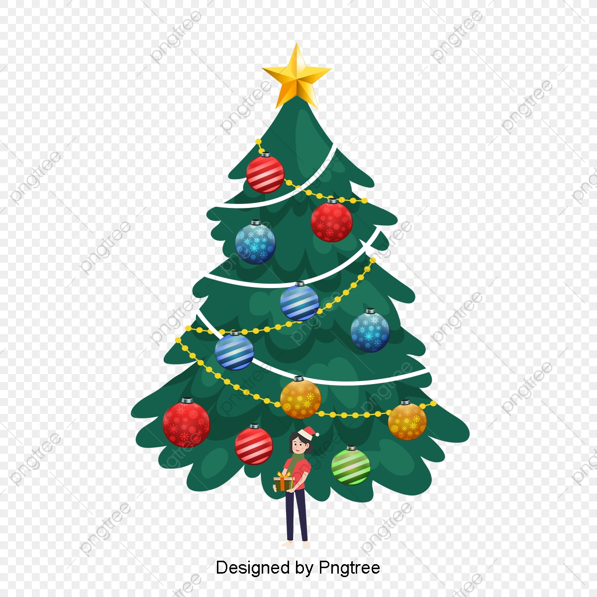Lovely Cartoon Christmas Tree Decoration Decor Simplicity Handpaint Png Transparent Clipart Image And Psd File For Free Download
